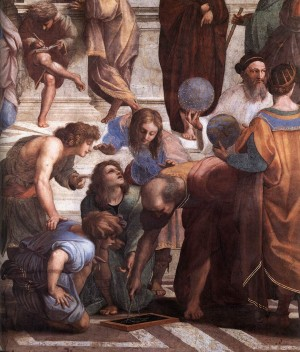 The School of Athens - Detail with Euclid and students, a geomtetry lesson